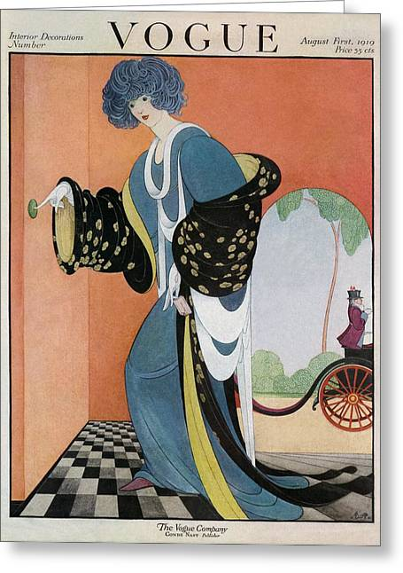 A Vogue Cover Of A Woman Ringing A Doorbell Greeting Card by George Wolfe Plank