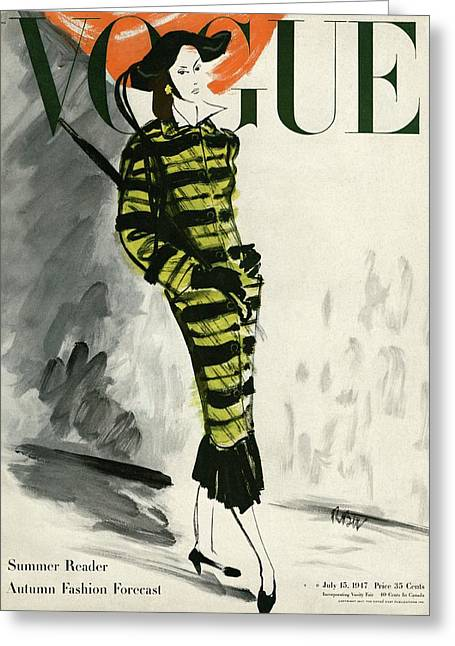 A Vogue Cover Of A Woman Wearing A Striped Coat Greeting Card by Ren? Bou?t-Willaumez