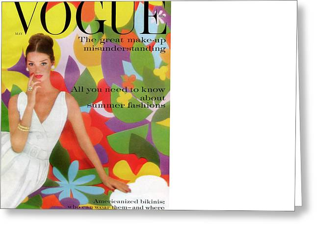 A Vogue Cover Of Dolores Hawkins With A Floral Greeting Card by William Bell