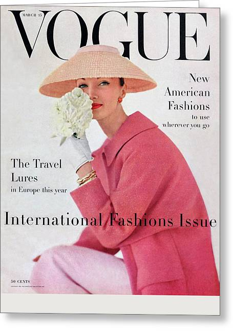 A Vogue Cover Of Evelyn Tripp Wearing Pink Greeting Card by Karen Radkai