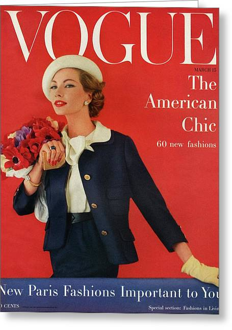 A Vogue Cover Of Jessica Ford With Flowers Greeting Card by Karen Radkai