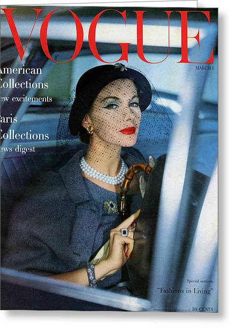 A Vogue Cover Of Joan Friedman In A Car Greeting Card by Clifford Coffin