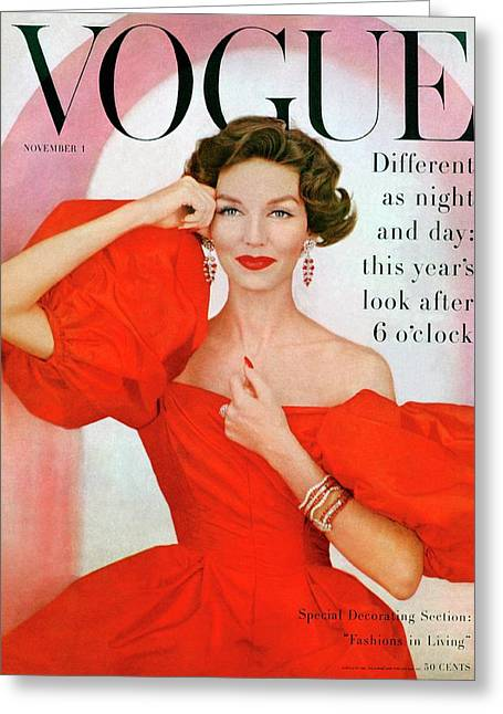 A Vogue Cover Of Joanna Mccormick Wearing Greeting Card by Richard Rutledge