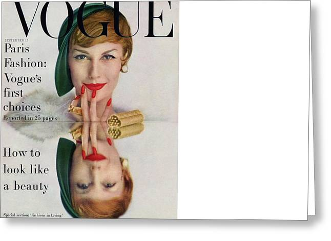 A Vogue Cover Of Mary Jane Russell Greeting Card by John Rawlings