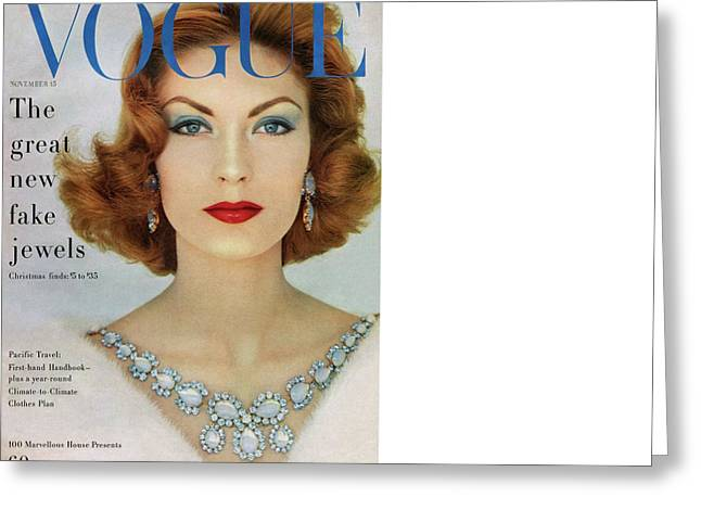A Vogue Cover Of Mary Mclaughlin Wearing Miriam Greeting Card by Leombruno-Bodi
