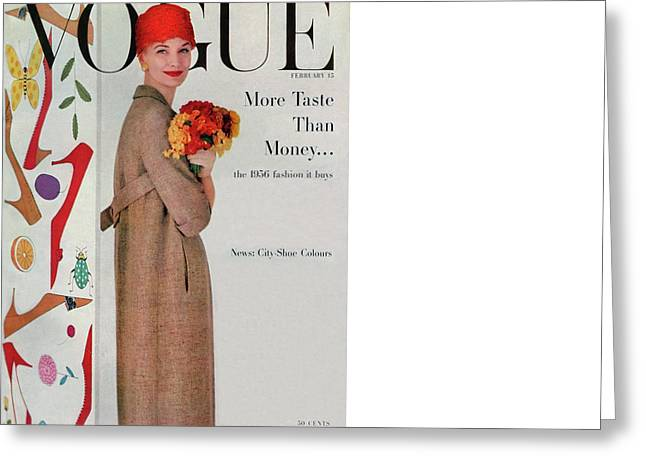 A Vogue Cover Of Sunny Harnett With Flowers Greeting Card by Karen Radkai