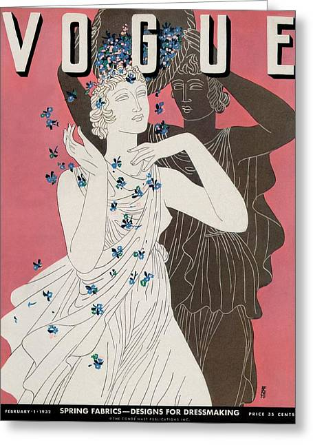 A Vogue Cover Of Women With Flowers Greeting Card by Eduardo Garcia Benito