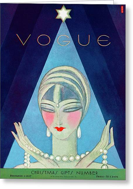 A Vogue Magazine Cover Of A Wealthy Woman Greeting Card by Eduardo Garcia Benito