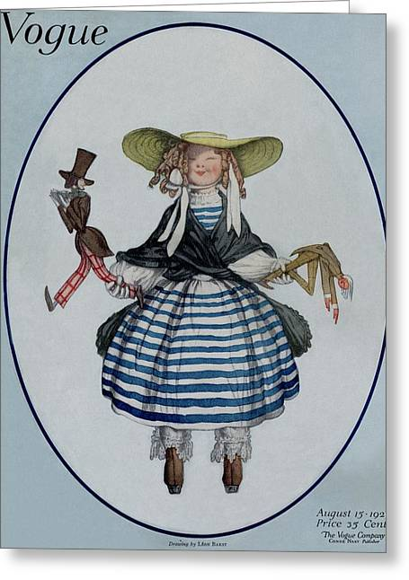 A Vogue Magazine Cover Of A Young Girl Greeting Card by Leon Bakst