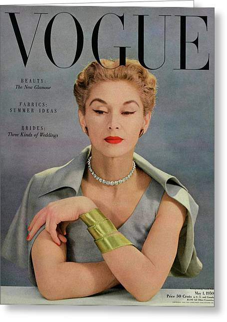 A Vogue Magazine Cover Of Lisa Fonssagrives Greeting Card by John Rawlings