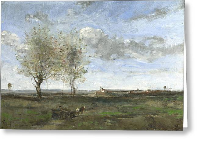 A Wagon In The Plains Of Artois Greeting Card by Jean-Baptiste-Camille Corot