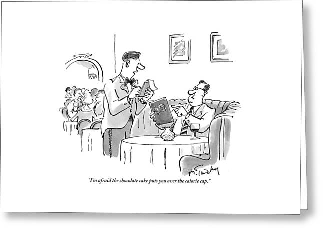 A Waiter Address A Man Ordering In A Restaruant Greeting Card by Mike Twohy