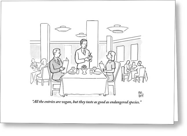 A Waiter Addresses A Couple Who Are Seated Greeting Card by Paul Noth