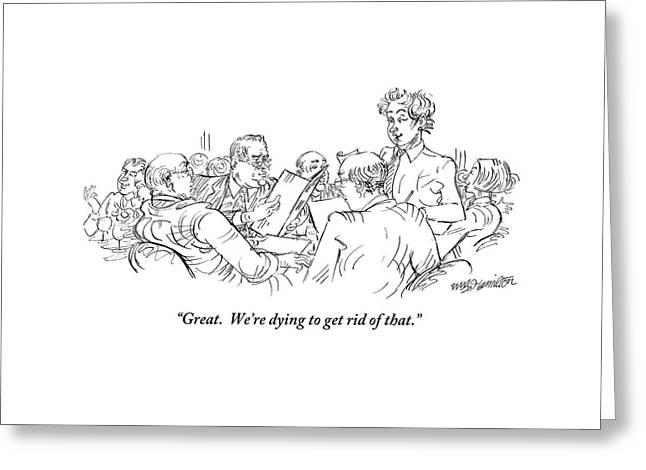 A Waiter Addresses Three Men Ordering Greeting Card by William Hamilton