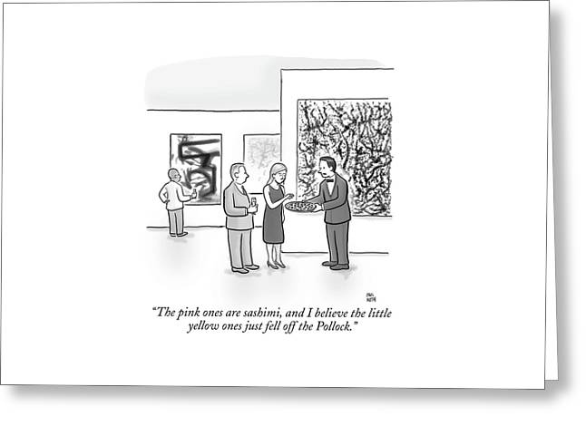 A Waiter Is Seen Speaking With A Woman In An Art Greeting Card by Paul Noth