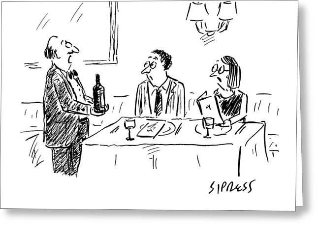 A Waiter Shows A Bottle Of Wine To Two Dinner Greeting Card