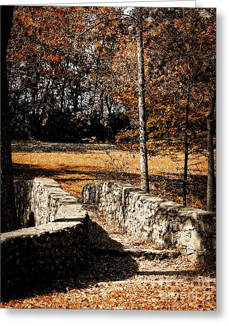 A Walk Along The Old Stone Path Greeting Card