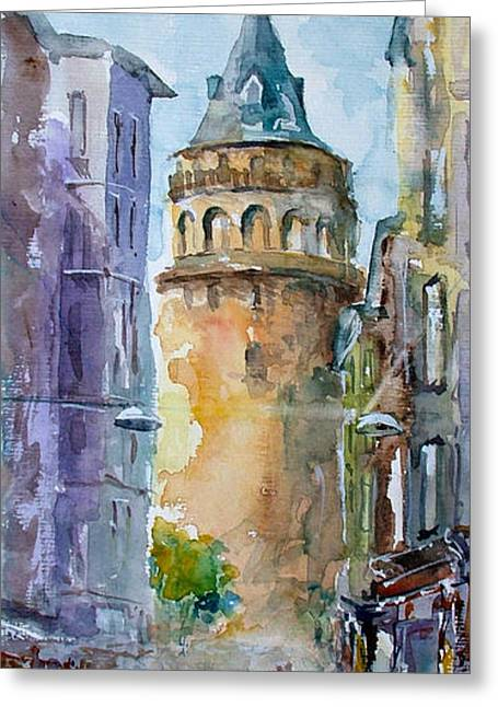 A Walk Around Galata Tower - Istanbul Greeting Card
