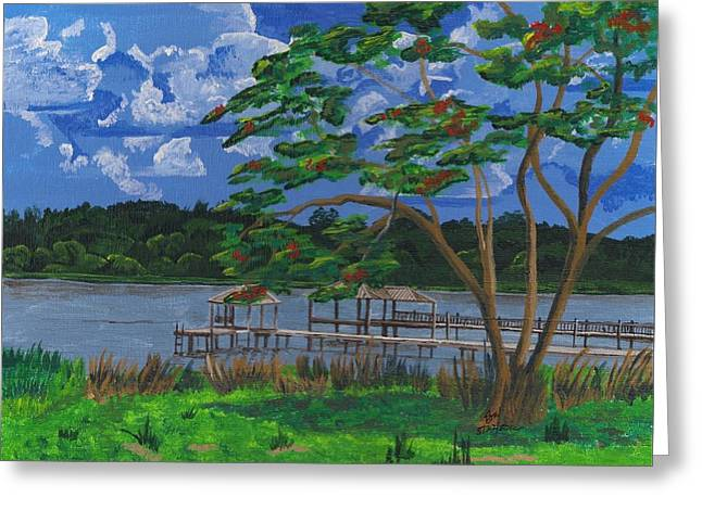 A Walk By Lake Clay Greeting Card