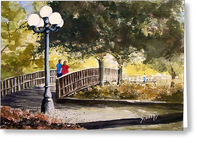A Walk In The Park Greeting Card by Sam Sidders