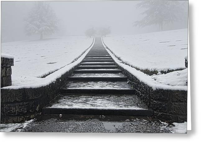 A Walk Into The Fog Greeting Card by Don Schwartz