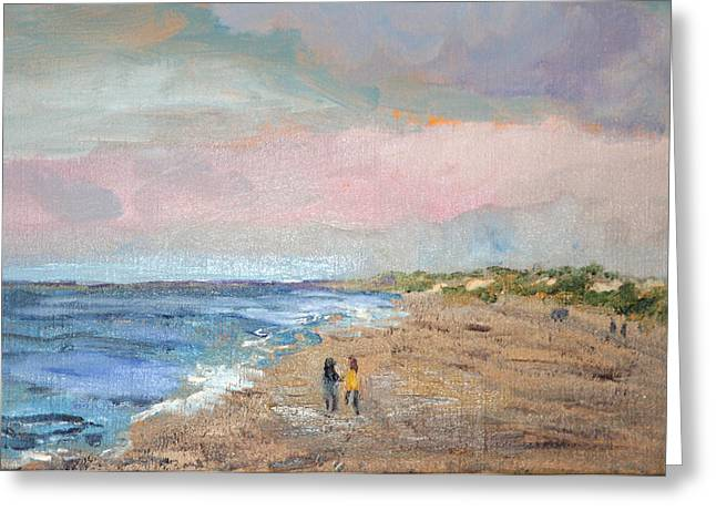 Greeting Card featuring the painting A Walk On The Beach by Michael Helfen