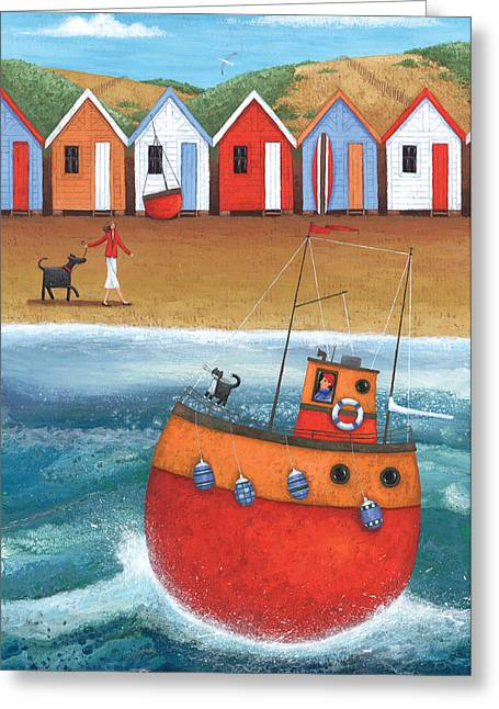 A Walk On The Beach Greeting Card by Peter Adderley