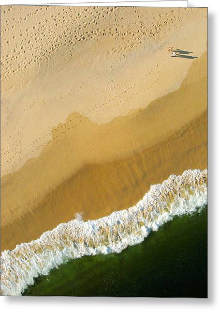 Greeting Card featuring the photograph A Walk On The Beach. A Kite Aerial Photograph. by Rob Huntley
