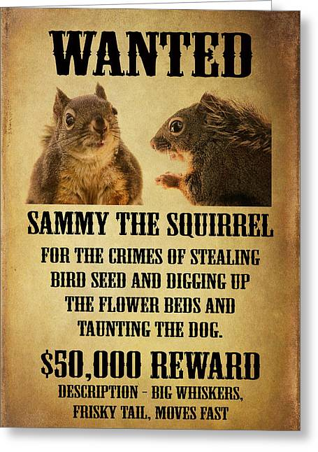 A Wanted Squirrel Greeting Card by Peggy Collins