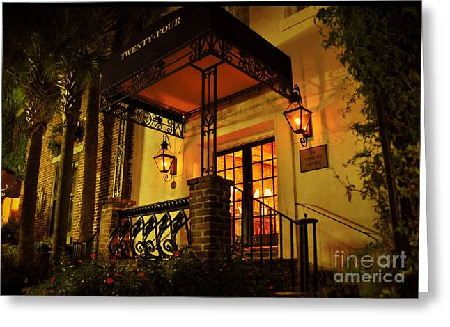Greeting Card featuring the photograph A Warm Summer Night In Charleston by Kathy Baccari