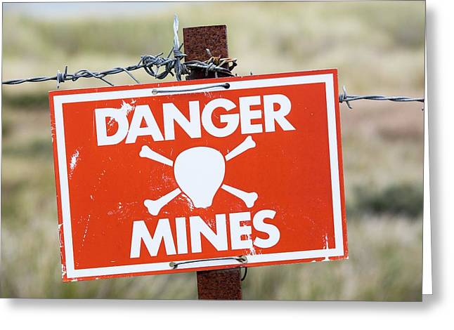 A Warning Sign About Mines Greeting Card by Ashley Cooper