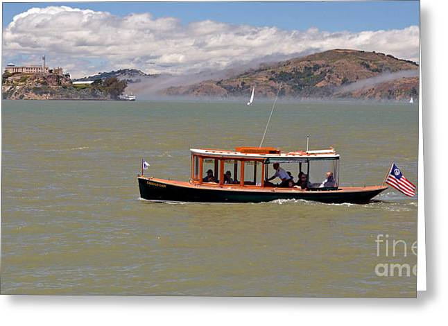 A Water Taxi Cruises Past Alcatraz Greeting Card by Jim Fitzpatrick