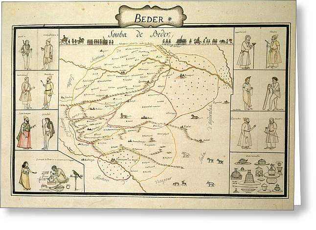 A Watercolour Map Of The Souda Greeting Card by British Library
