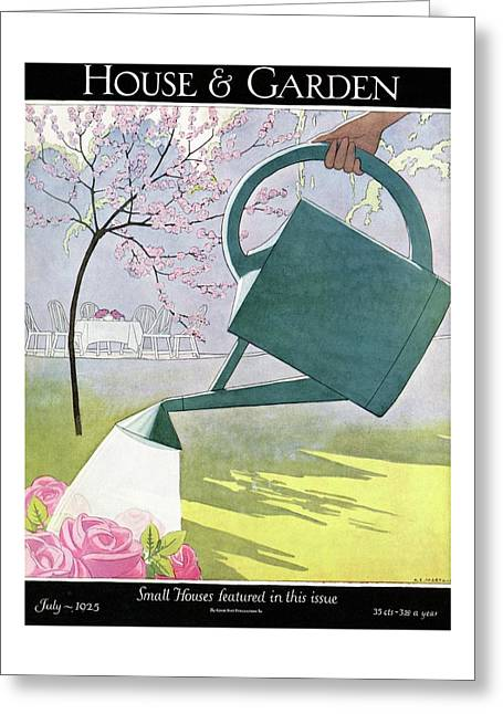 A Watering Can Above Pink Roses Greeting Card