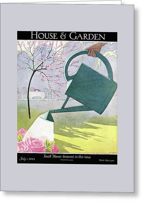 A Watering Can Above Pink Roses Greeting Card by Andre E.  Marty