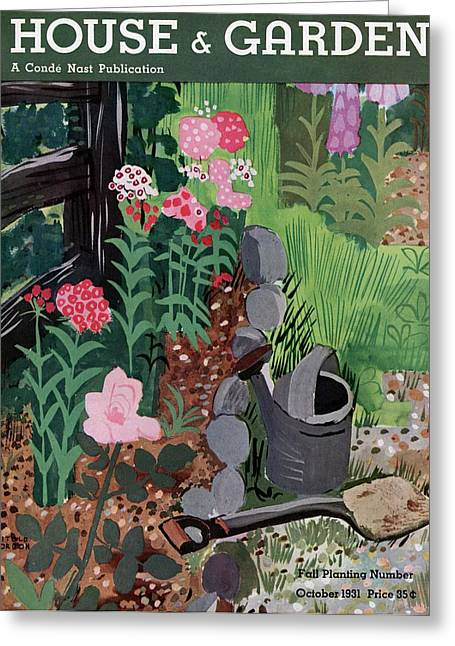 A Watering Can And A Shovel By A Flower Bed Greeting Card