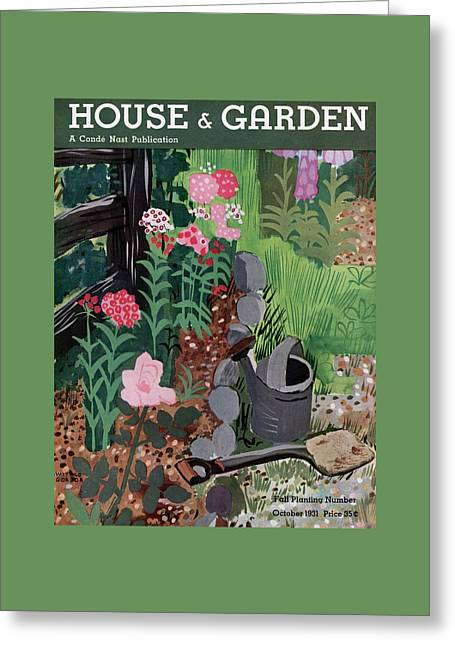 A Watering Can And A Shovel By A Flower Bed Greeting Card by Witold Gordon