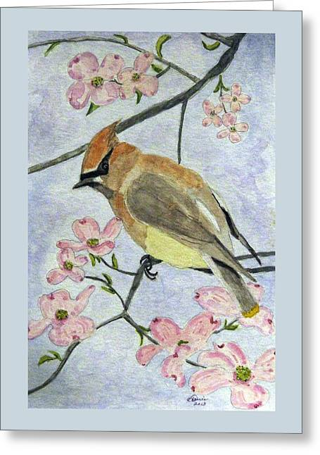 A Waxwing In The Dogwood Greeting Card
