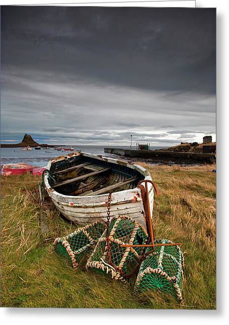 A Weathered Boat And Fishing Equipment Greeting Card