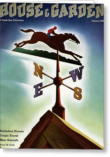 A Weathervane With A Racehorse Greeting Card by Joseph Binder