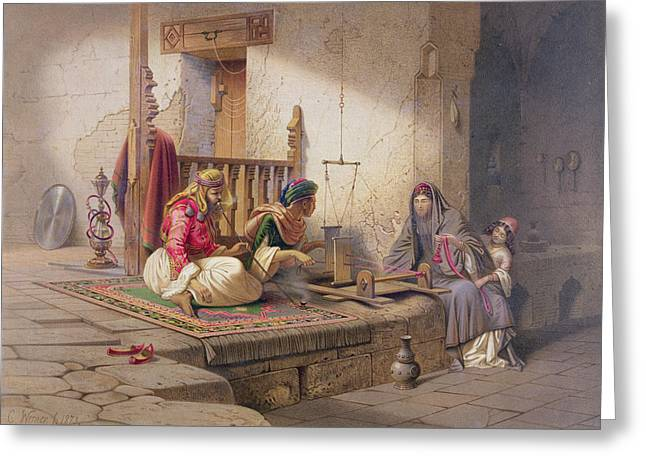 A Weaver In Esna, One Of 24 Greeting Card by Carl Friedrich Heinrich Werner