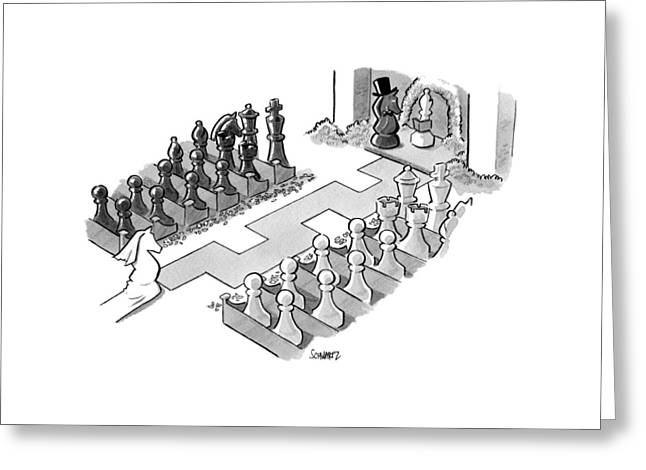 A Wedding In Which The Characters Are All Chess Greeting Card by Benjamin Schwartz