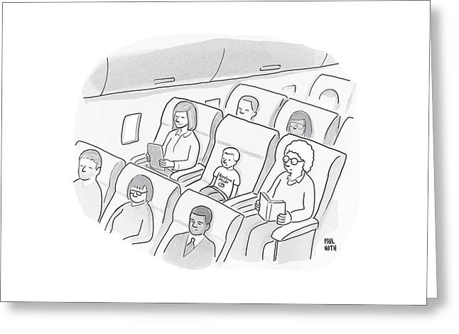 A Well-behaved Boy On An Airplane Wears A T-shirt Greeting Card