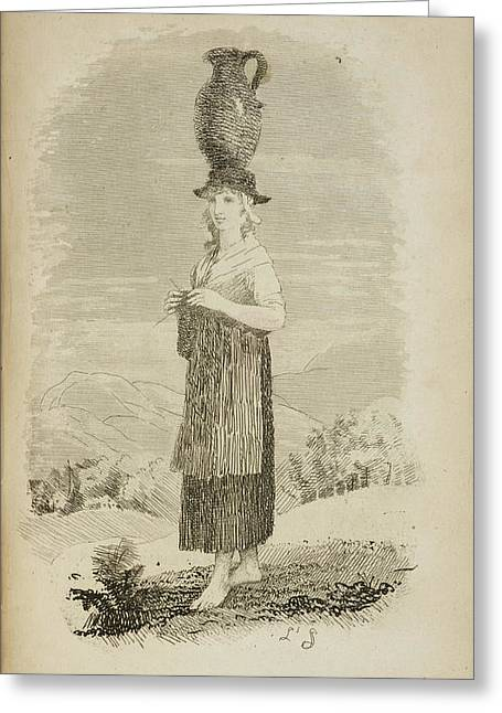 A Welsh Girl With Jug On Her Head Greeting Card by British Library