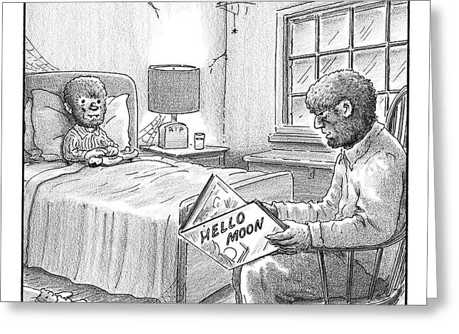 A Werewolf Father Is Reading His Werewolf Son Greeting Card