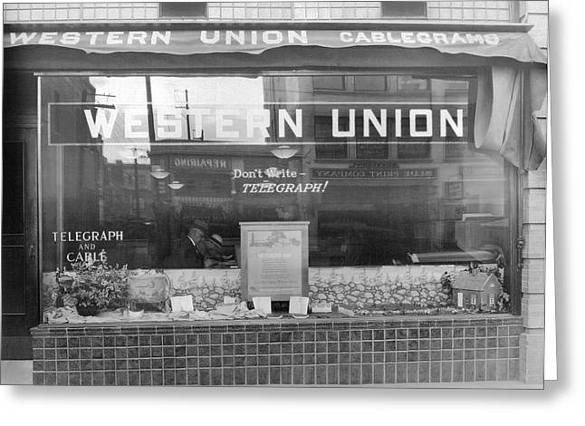 A Western Union Office Greeting Card by Underwood Archives