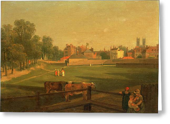 A Western View Of Part Of Westminster And Bird Cage Walk Greeting Card by Litz Collection