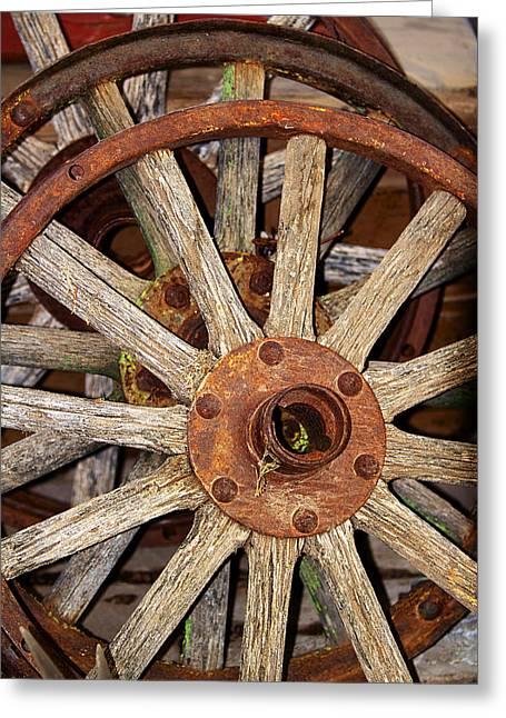 A Wheel In A Wheel Greeting Card by Phyllis Denton