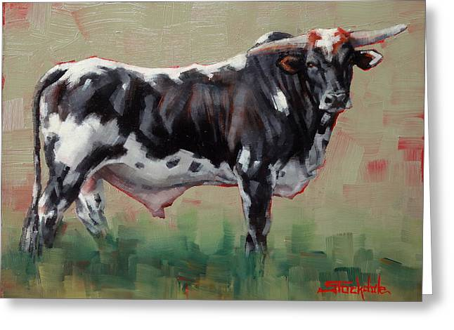 A Whole Lotta' Bull Greeting Card by Margaret Stockdale