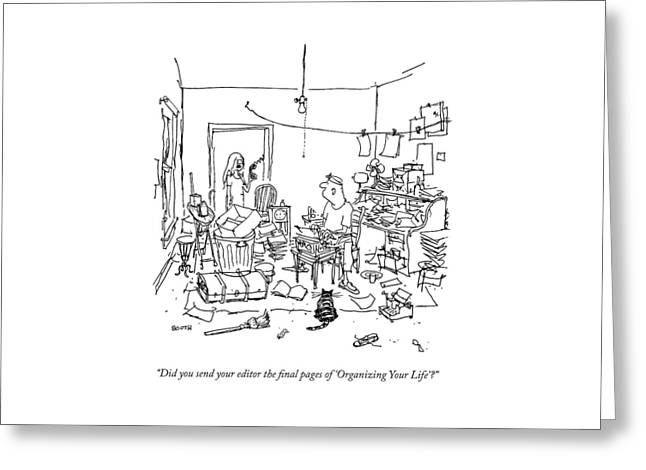 A Wife Asks Her Writer-husband Greeting Card